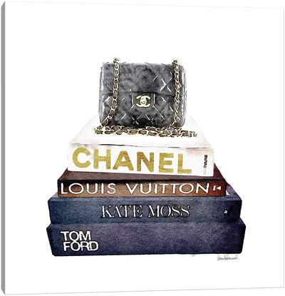 Stack Of Fashion Books With A Chanel Bag Canvas Print #GRE71