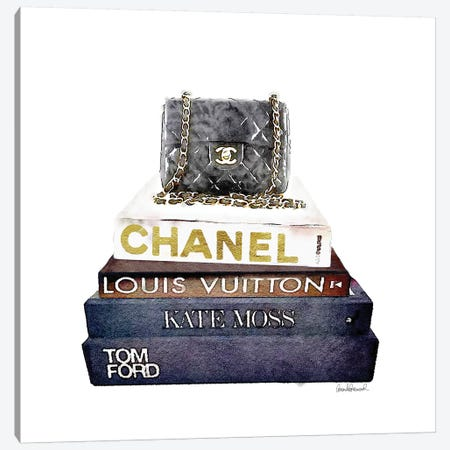 Stack Of Fashion Books With A Chanel Bag Canvas Print #GRE71} by Amanda Greenwood Art Print