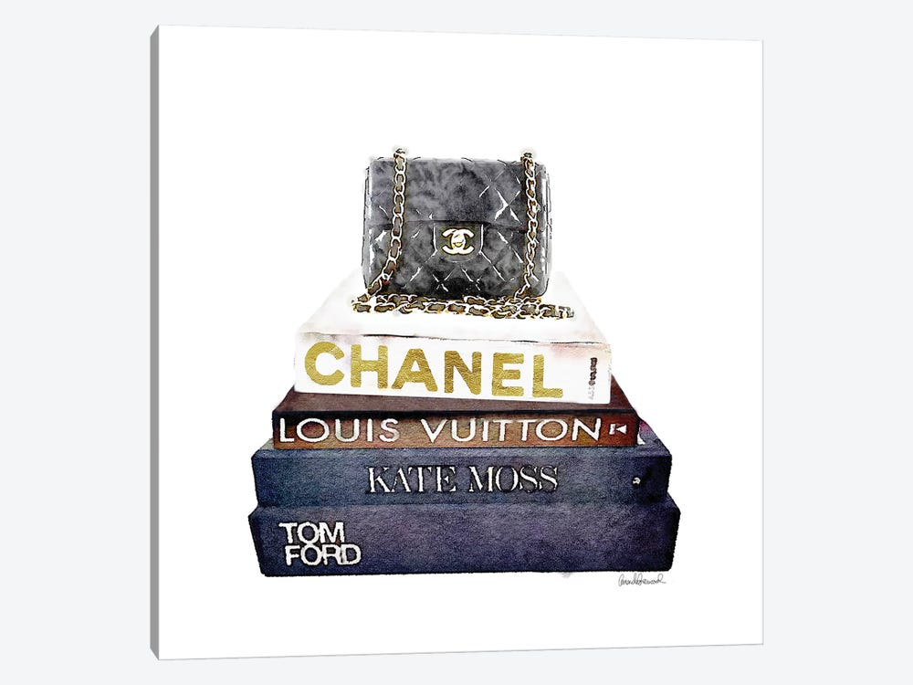 Stack Of Fashion Books With A Chanel Bag by Amanda Greenwood 1-piece Canvas Print