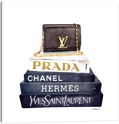 Stack Of Fashion Books With A Clutch Bag Canvas Art Print