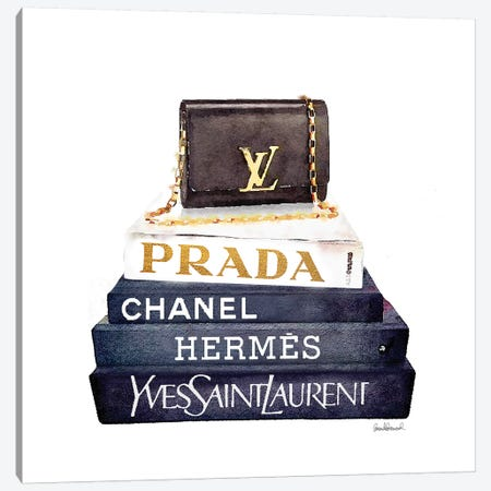 Stack Of Fashion Books With A Clutch Bag Canvas Print #GRE72} by Amanda Greenwood Canvas Art Print