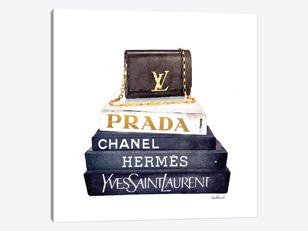 Stack Of Fashion Books With A Clutch Bag by Amanda Greenwood 1-piece Canvas Wall Art