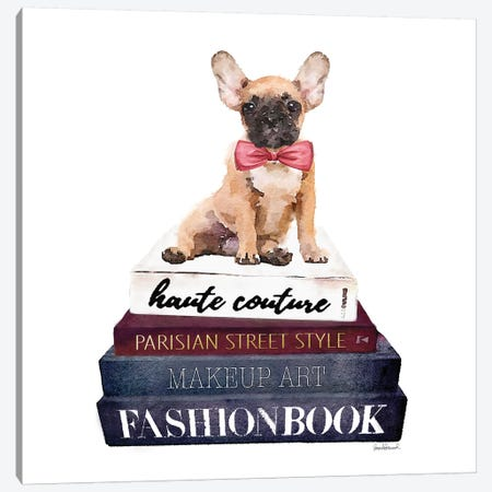 Stack Of Fashion Books With A French Bulldog Canvas Print #GRE73} by Amanda Greenwood Canvas Art Print