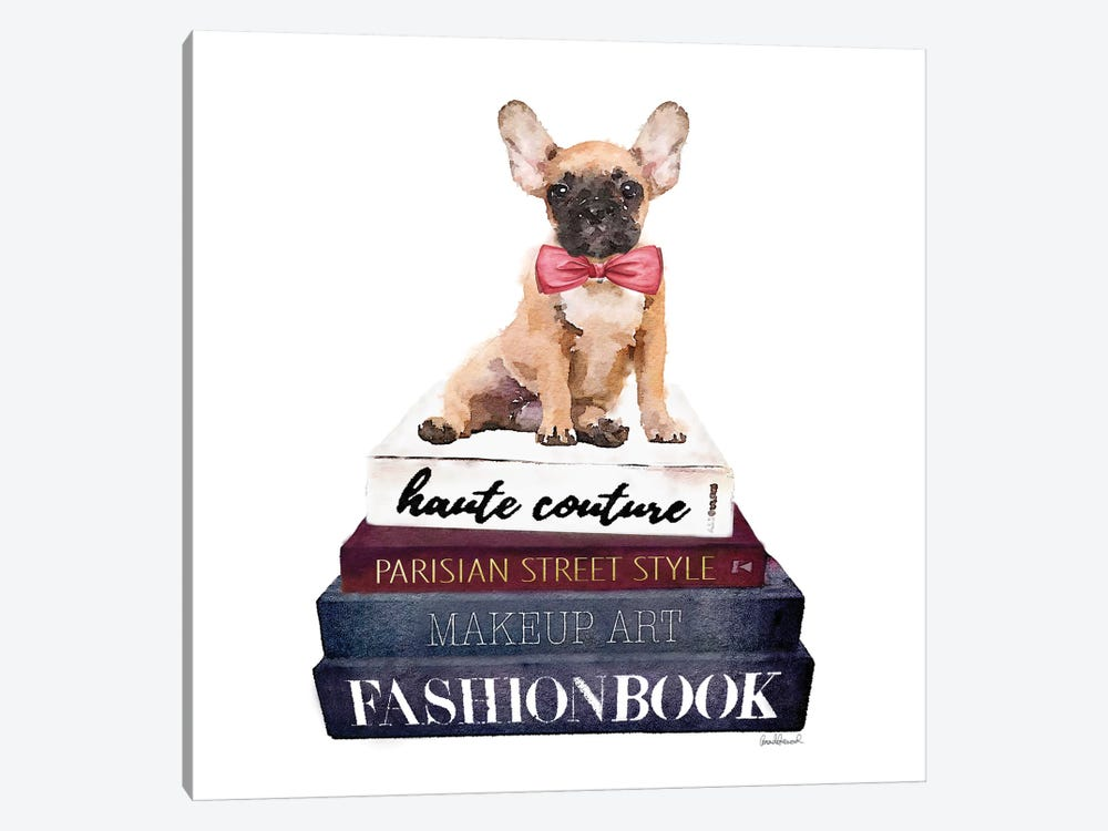 Stack Of Fashion Books With A French Bulldog by Amanda Greenwood 1-piece Canvas Art Print