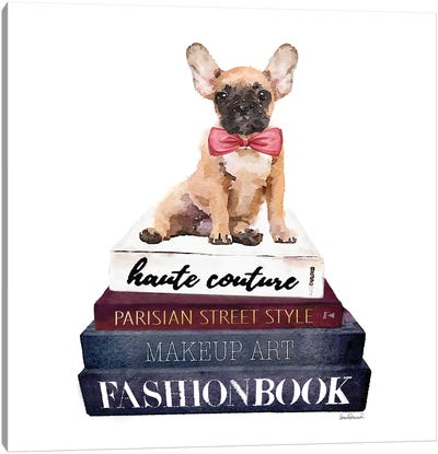 Stack Of Fashion Books With A French Bulldog Canvas Art Print
