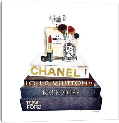 Stack Of Fashion Books With A Hint Of Gold Makeup Canvas Art Print