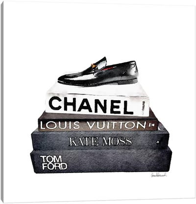 Stack Of Fashion Books With A Man's Shoe Canvas Art Print