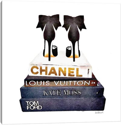 Stack Of Fashion Books With Bow Heels Canvas Print #GRE76