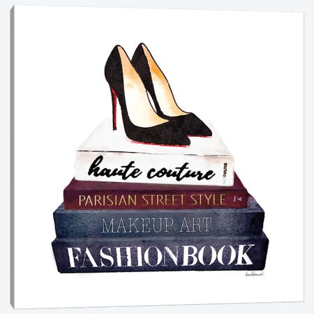 Stack Of Fashion Books With Heels II Canvas Print #GRE78} by Amanda Greenwood Canvas Art Print