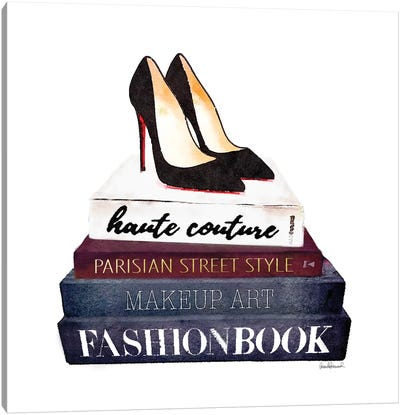 Stack Of Fashion Books With Heels II Canvas Print #GRE78
