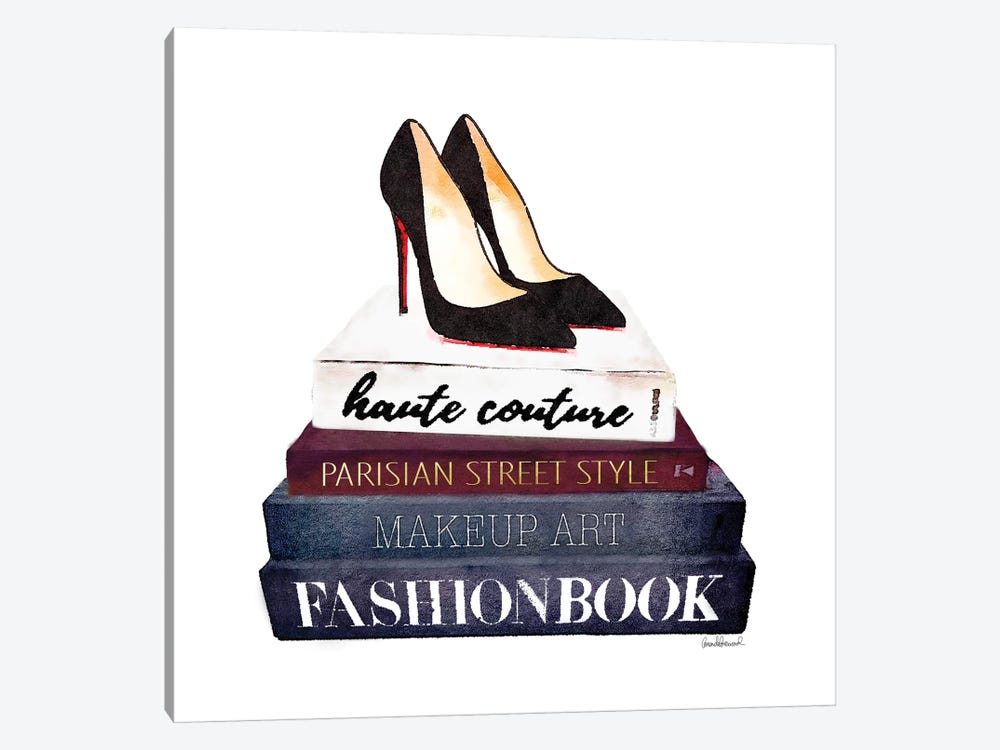 Stack Of Fashion Books With Heels II by Amanda Greenwood 1-piece Canvas Art