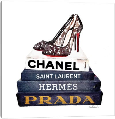 Stack Of Fashion Books With Lace Shoes Canvas Print #GRE79