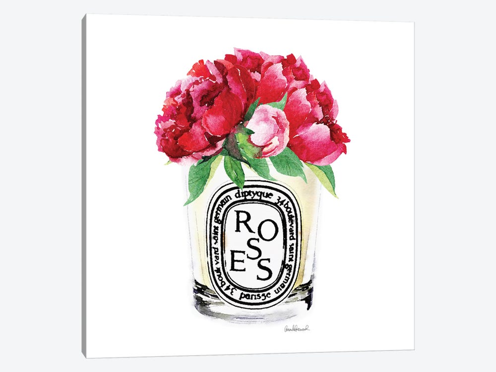 Candle With Deep Pink Peonies by Amanda Greenwood 1-piece Art Print