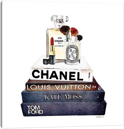 Stack Of Fashion Books With Makeup I Canvas Print #GRE80