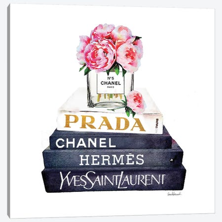 Stack Of Fashion Books With Pink Peonies Canvas Print #GRE82} by Amanda Greenwood Canvas Artwork