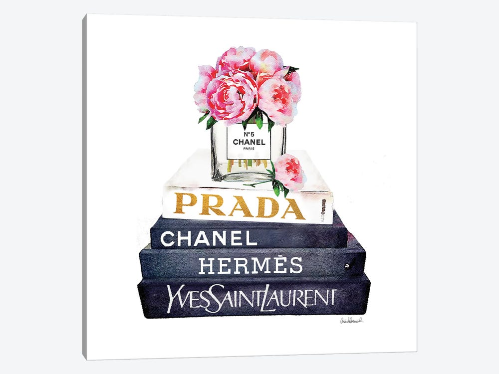 Stack Of Fashion Books With Pink Peonies by Amanda Greenwood 1-piece Canvas Art Print