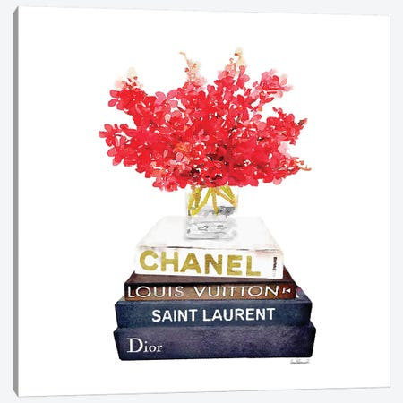Stack Of Fashion Books With Red Flowers Canvas Print #GRE83} by Amanda Greenwood Canvas Wall Art