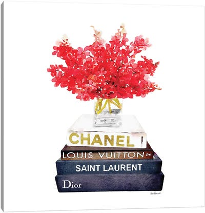 Stack Of Fashion Books With Red Flowers Canvas Print #GRE83