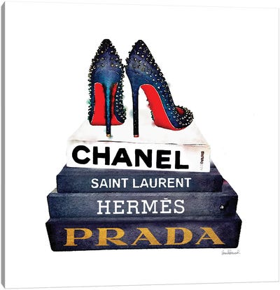 Stack Of Fashion Books With Spiked Shoes Canvas Print #GRE84