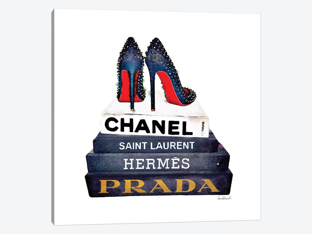 Stack Of Fashion Books With Spiked Shoes by Amanda Greenwood 1-piece Canvas Art Print