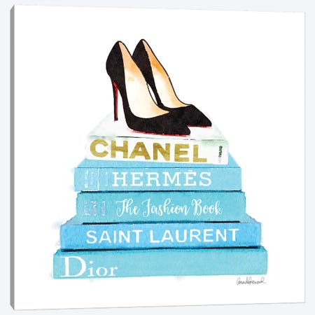 Stack Of Teal Fashion Books With Shoes Canvas Print #GRE85} by Amanda Greenwood Art Print