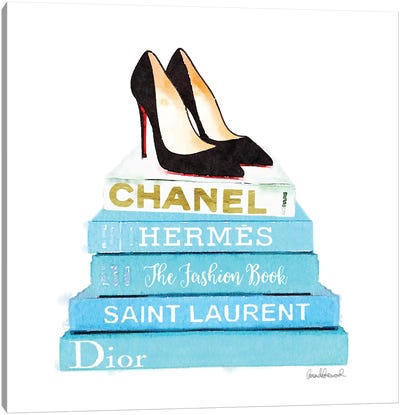 Stack Of Teal Fashion Books With Shoes Canvas Print #GRE85