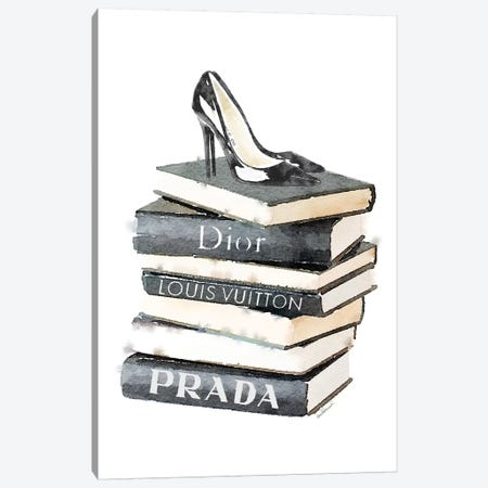 Tall Stack Of Fashion Books With Heels Canvas Print #GRE86} by Amanda Greenwood Canvas Art Print