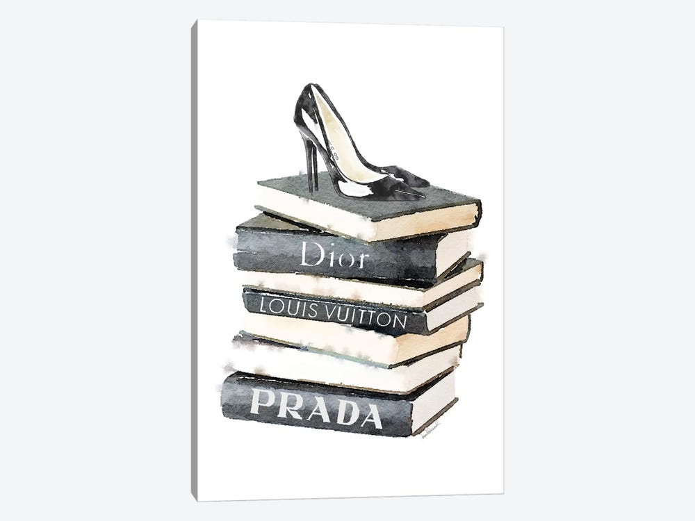 Tall Stack Of Fashion Books With Heels by Amanda Greenwood 1-piece Canvas Art Print