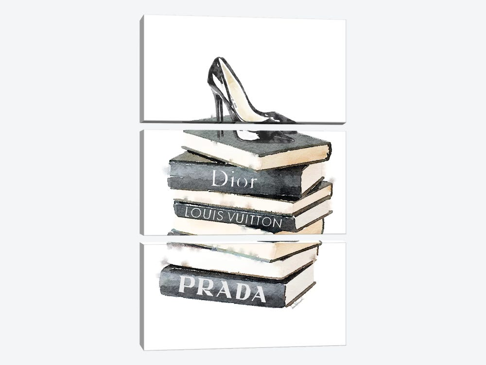 Tall Stack Of Fashion Books With Heels by Amanda Greenwood 3-piece Canvas Art Print