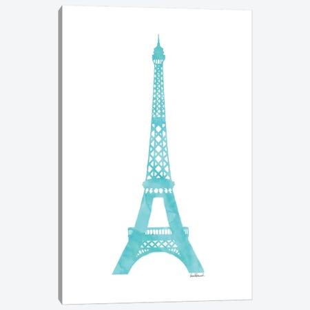 Teal Eiffel Tower Canvas Print #GRE88} by Amanda Greenwood Canvas Wall Art