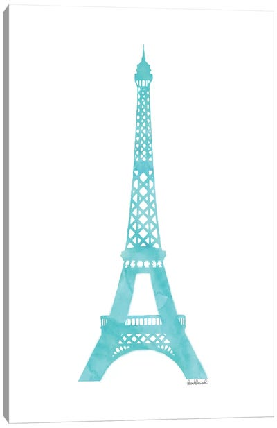 Teal Eiffel Tower Canvas Art Print