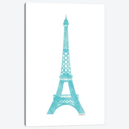 Teal Eiffel Tower Canvas Print #GRE88} by Amanda Greenwood Canvas Wall Art
