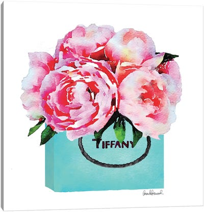 Teal Fashion Shopping Bag With Pink Peonies Canvas Print #GRE89