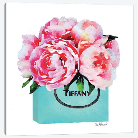 Teal Fashion Shopping Bag With Pink Peonies Canvas Print #GRE89} by Amanda Greenwood Canvas Artwork