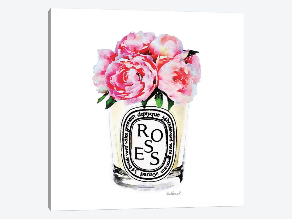 Candle With Pink Peonies by Amanda Greenwood 1-piece Canvas Art