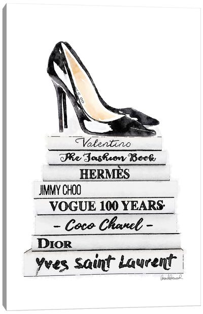 White Fashion Books With Black Heels Canvas Print #GRE90
