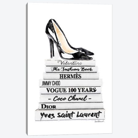 White Fashion Books With Black Heels Canvas Print #GRE90} by Amanda Greenwood Art Print