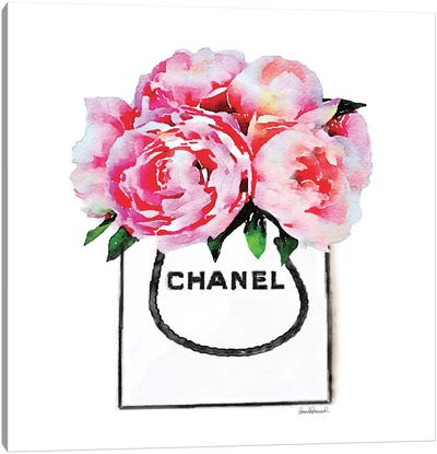White Fashion Shopping Bag With Pink Peonies Canvas Print #GRE91