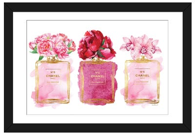 Three Perfume Bottles In Pink Framed Art Print
