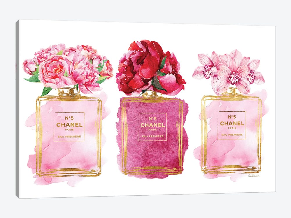 Three Perfume Bottles In Pink Canvas Print By Amanda