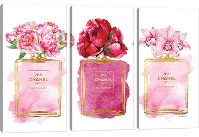 Three Perfume Bottles In Pink Canvas Art Print