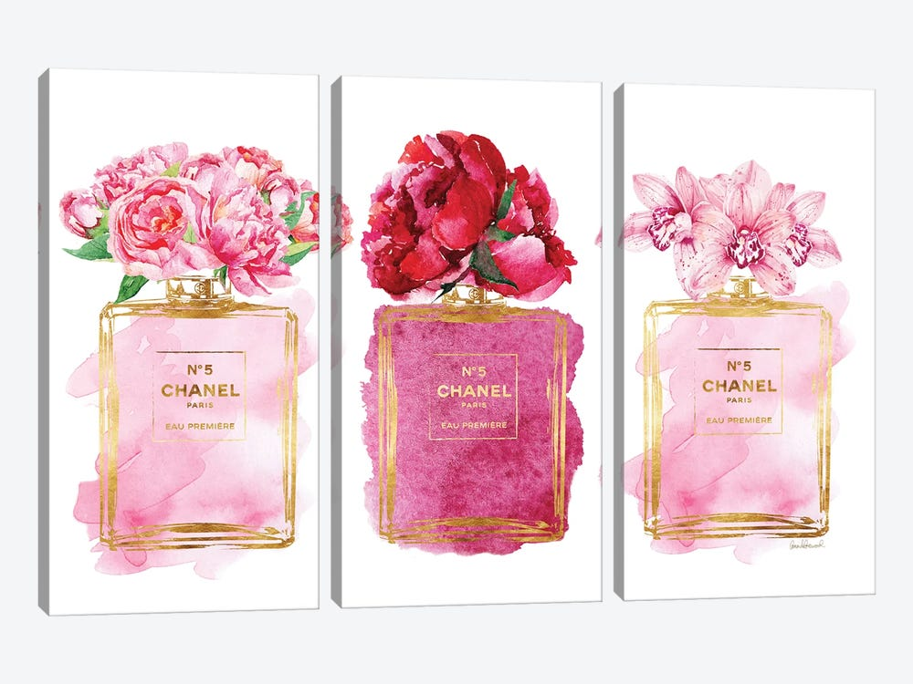 Three Perfume Bottles In Pink by Amanda Greenwood 3-piece Canvas Wall Art