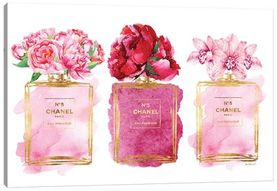 Three Perfume Bottles In Pink Canvas Art Print
