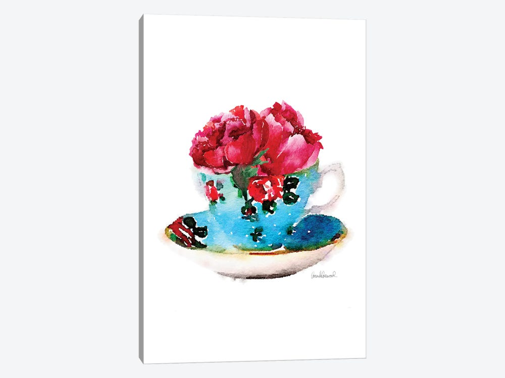 Blue Teacup With Flower 1-piece Canvas Print