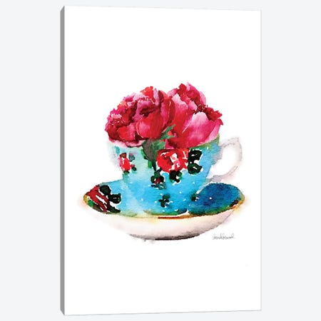 Blue Teacup With Flower Canvas Print #GRE95} by Amanda Greenwood Canvas Art