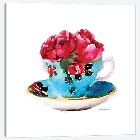 Blue Teacup With Flower, Square Canvas Print #GRE96} by Amanda Greenwood Canvas Wall Art