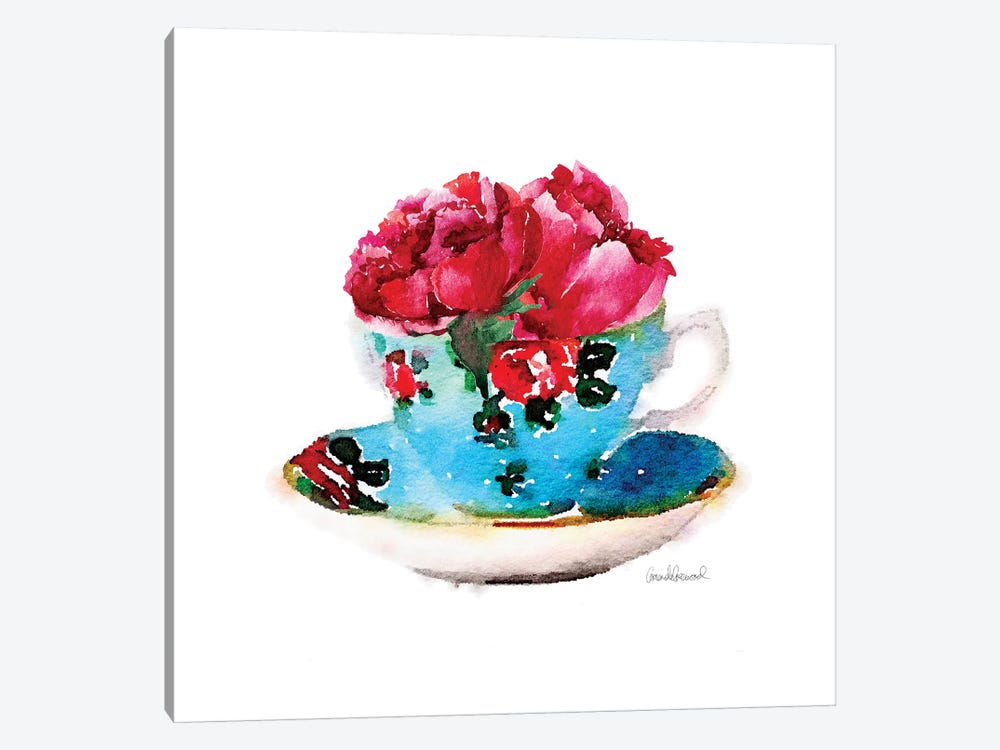 Blue Teacup With Flower, Square by Amanda Greenwood 1-piece Canvas Artwork
