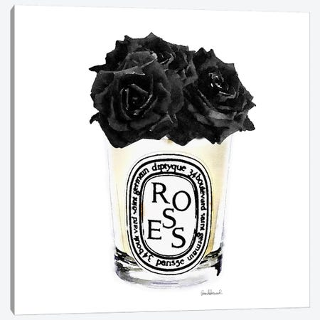 Candle With Black Roses, Square Canvas Print #GRE98} by Amanda Greenwood Art Print