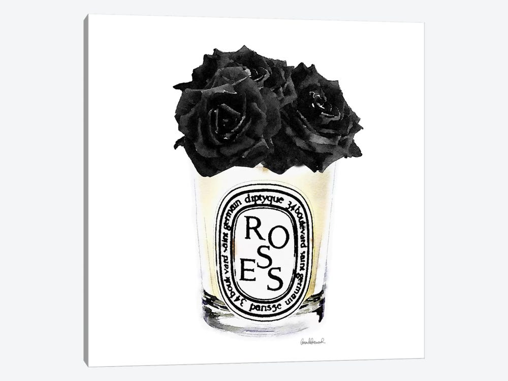 Candle With Black Roses, Square 1-piece Canvas Wall Art