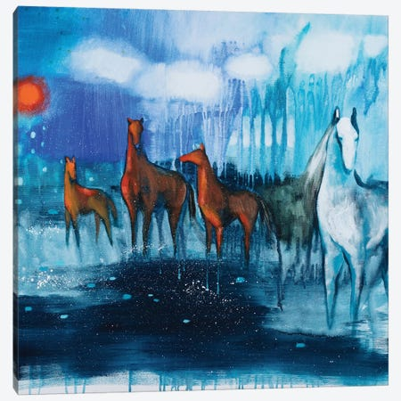White Horse Canvas Print #GRF49} by Mirta Groffman Art Print